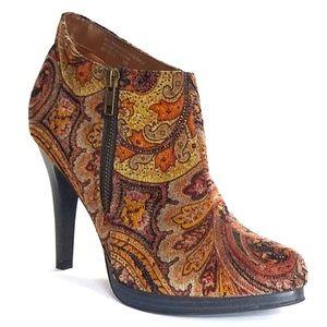 Diba Harlow Paisley Print Heeled Ankle Boots | 10